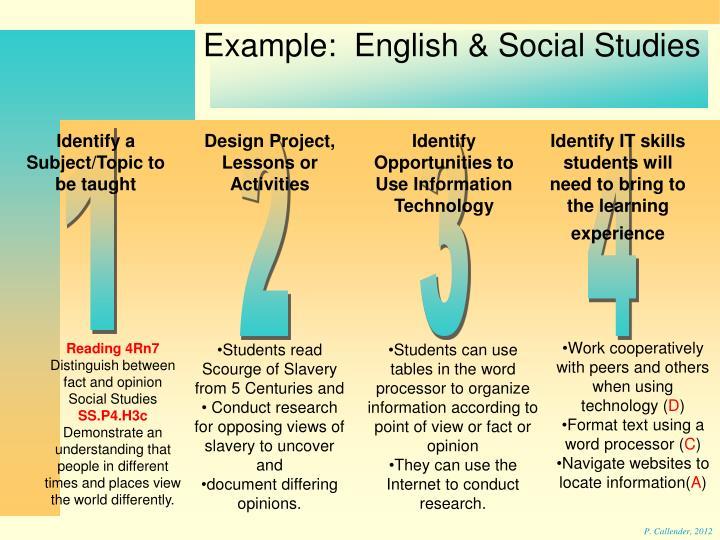 Example:  English & Social Studies
