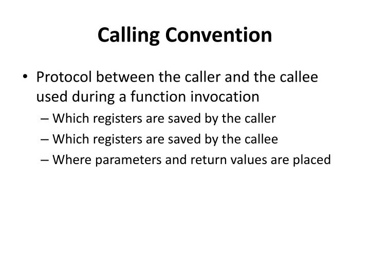 Calling Convention