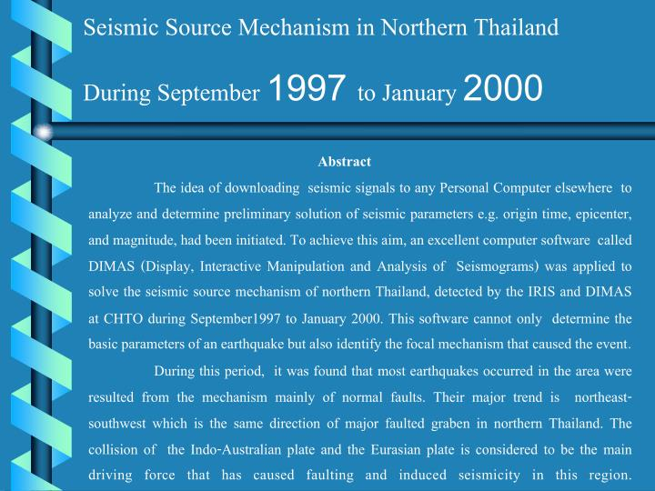 Seismic Source Mechanism in Northern Thailand