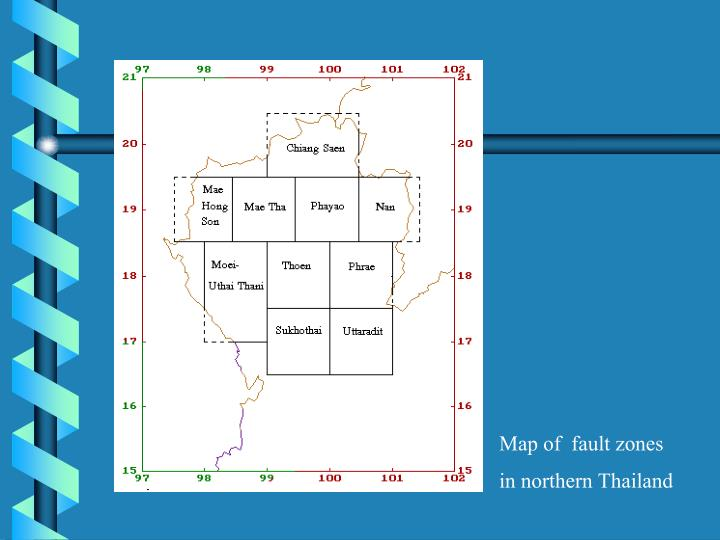 Map of  fault zones in northern Thailand