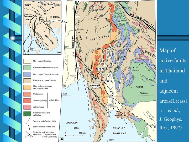 Map of  active faults in Thailand and adjacent areas