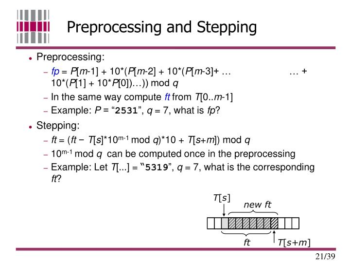 Preprocessing and Stepping