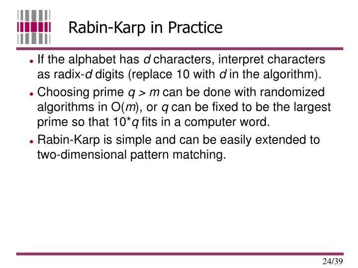 Rabin-Karp in Practice