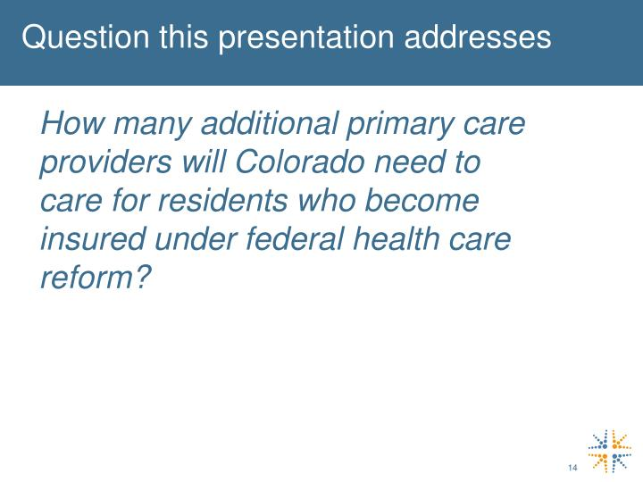 Question this presentation addresses