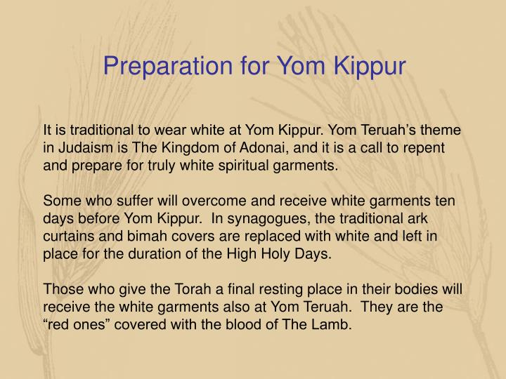 Preparation for Yom Kippur