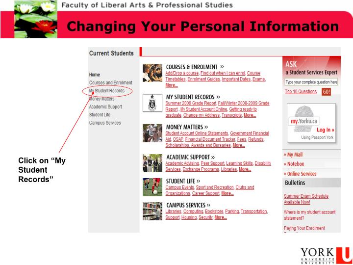 Changing Your Personal Information