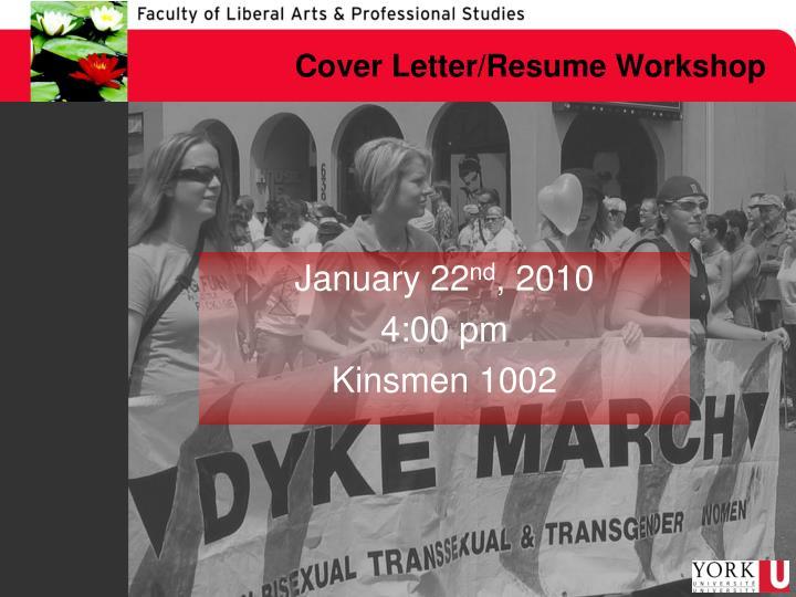 Cover Letter/Resume Workshop