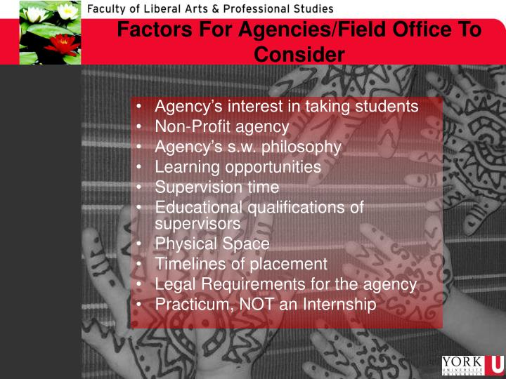 Factors For Agencies/Field Office To Consider