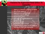 factors for agencies field office to consider
