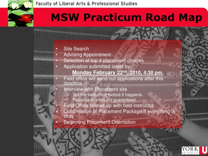 MSW Practicum Road Map