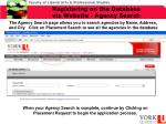 registering on the database via website agency search1