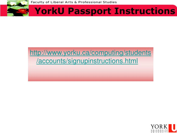 YorkU Passport Instructions