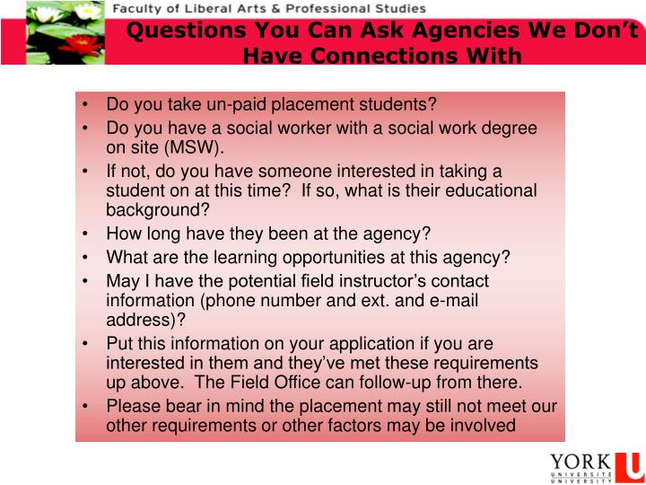 Questions You Can Ask Agencies We Don't Have Connections With