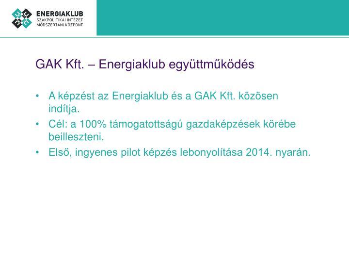 GAK Kft. – Energiaklub együttműködés