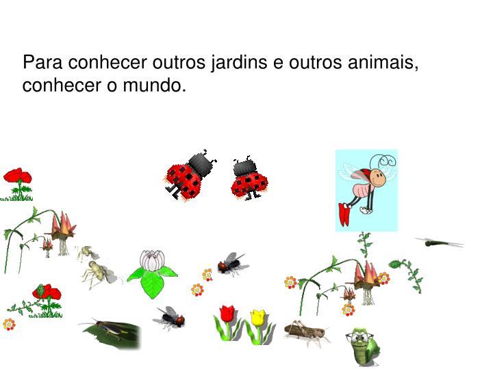 Para conhecer outros jardins e outros animais, conhecer o mundo.