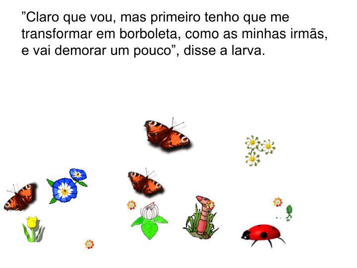 """""""Claro que vou, mas primeiro tenho que me transformar em borboleta, como as minhas irmãs, e vai demorar um pouco"""", disse a larva."""