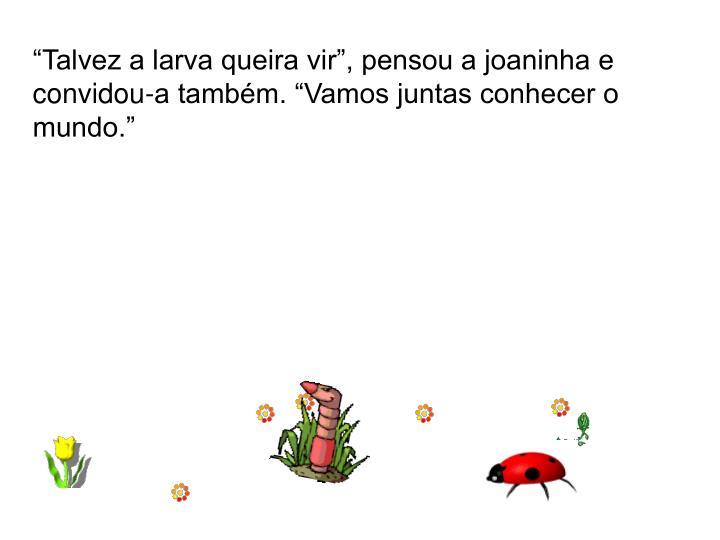 """""""Talvez a larva queira vir"""", pensou a joaninha e convidou-a também. """"Vamos juntas conhecer o mundo."""""""