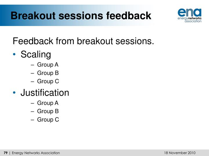 Breakout sessions feedback