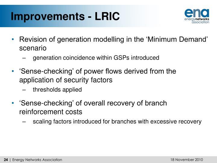 Improvements - LRIC