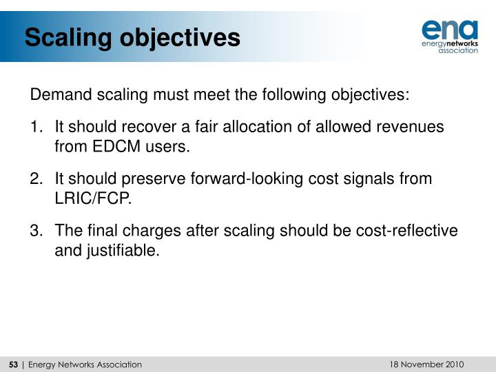 Scaling objectives