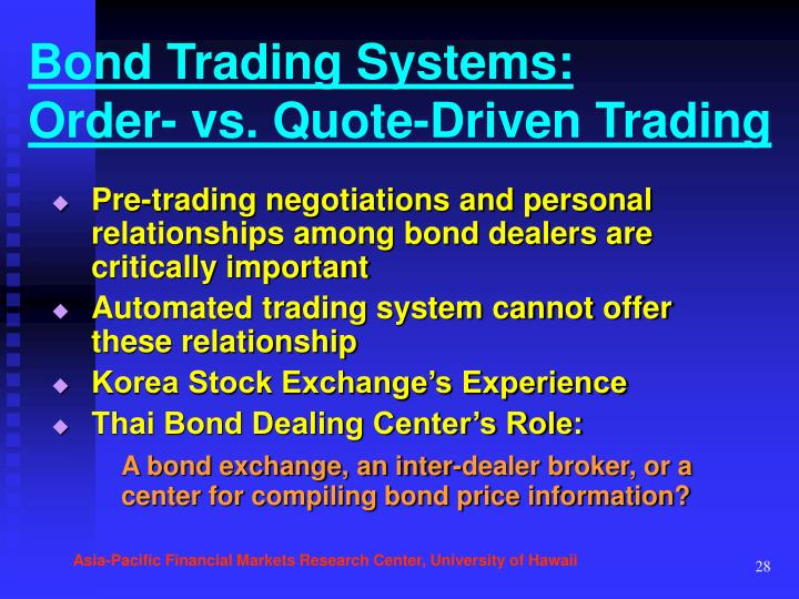 Bond Trading Systems: