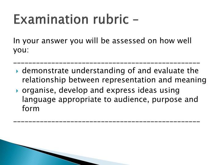 Examination rubric –
