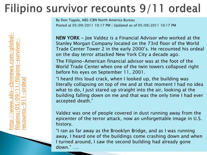 Filipino survivor recounts 9/11 ordeal