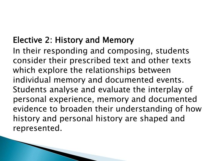 Elective 2: History and Memory