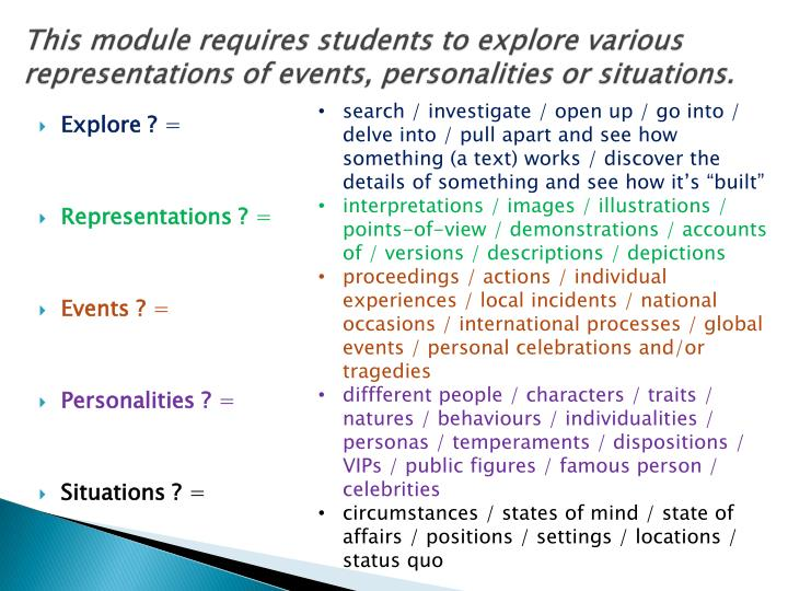This module requires students to explore various representations of events, personalities or situati...