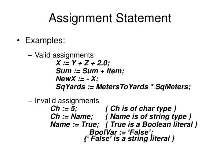 Assignment Statement