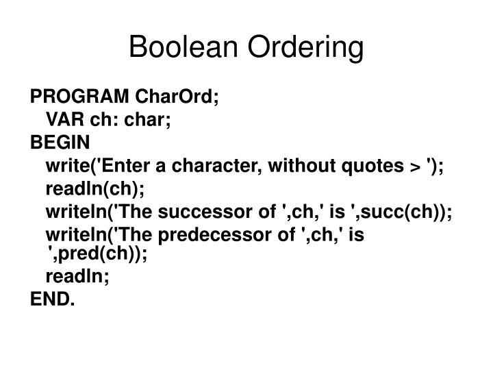 Boolean Ordering