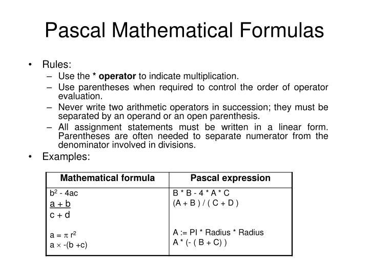 Pascal Mathematical Formulas