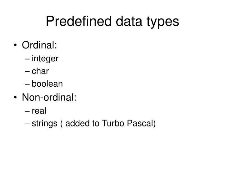 Predefined data types