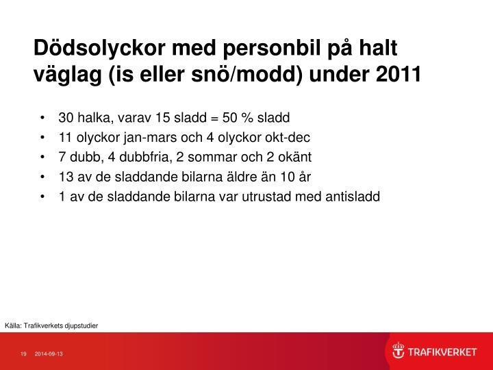 Ddsolyckor med personbil p halt vglag (is eller sn/modd) under 2011