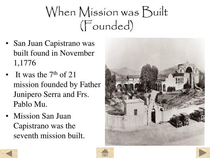 When mission was built founded