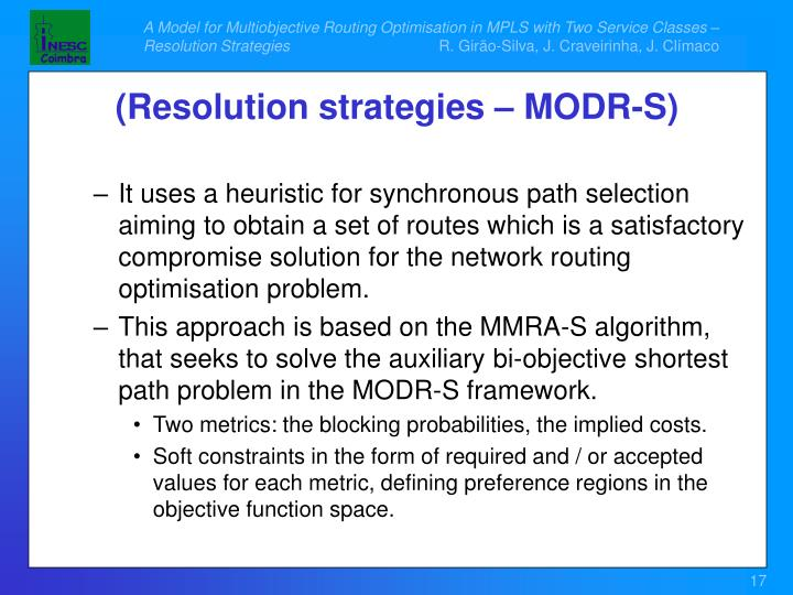 It uses a heuristic for synchronous path selection aiming to obtain a set of routes which is a satisfactory compromise solution for the network routing optimisation problem.