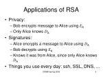 applications of rsa