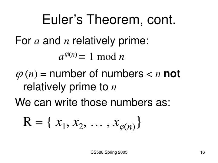 Euler's Theorem, cont.