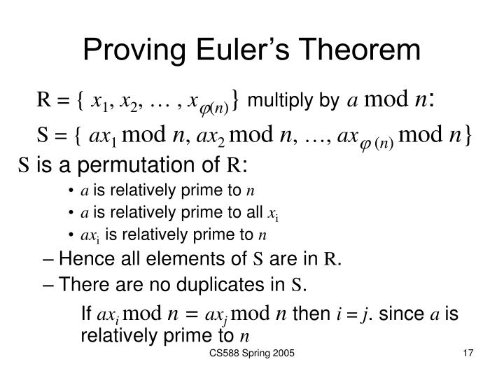 Proving Euler's Theorem