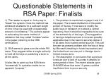 questionable statements in rsa paper finalists