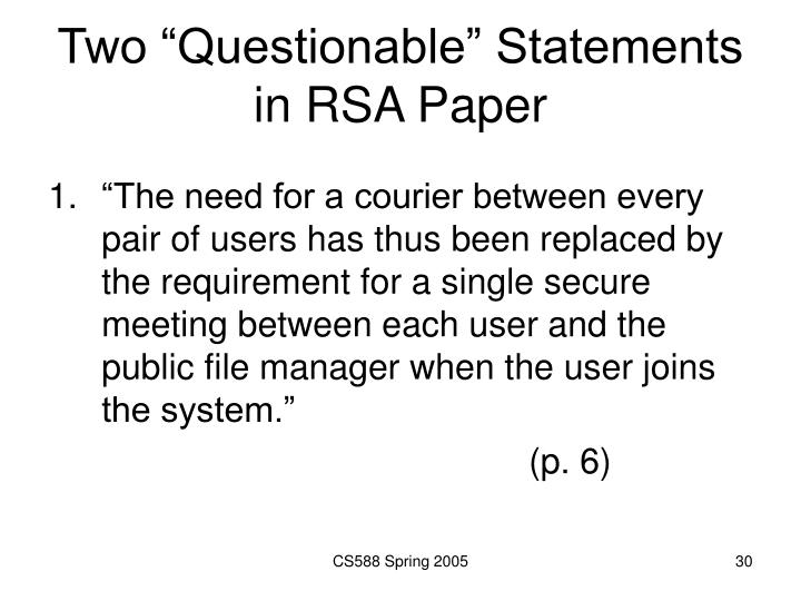 "Two ""Questionable"" Statements in RSA Paper"