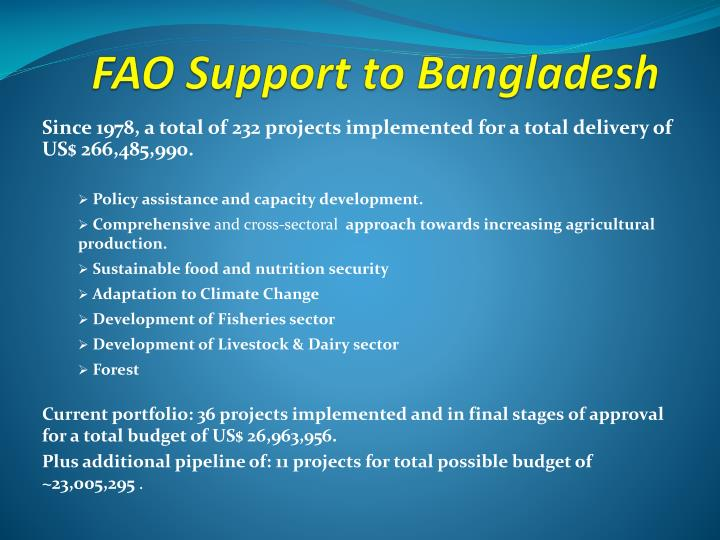 FAO Support to Bangladesh