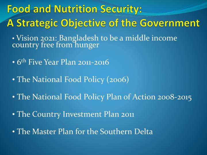Food and nutrition security a strategic objective of the government