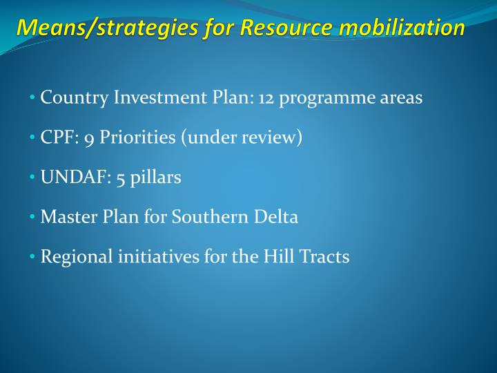 Means/strategies for Resource mobilization