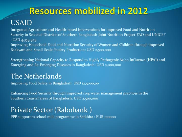 Resources mobilized in 2012
