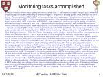monitoring tasks accomplished