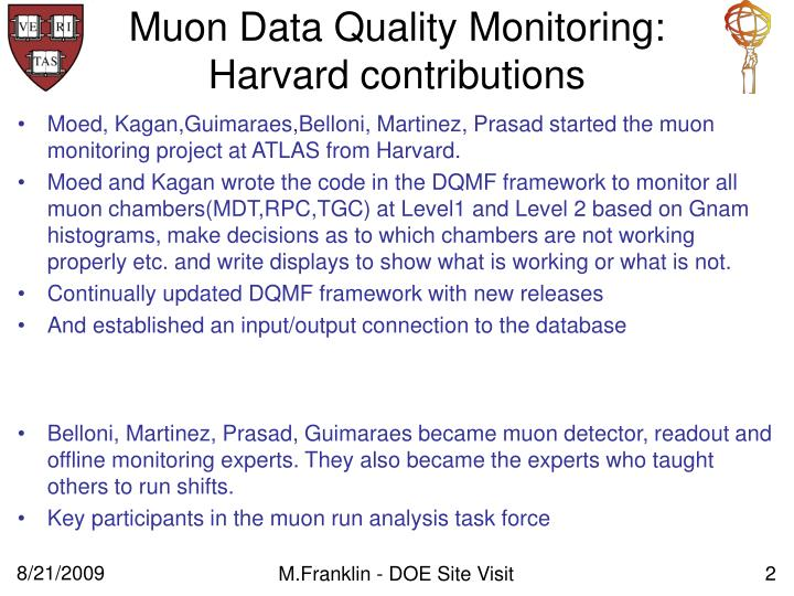 Muon data quality monitoring harvard contributions