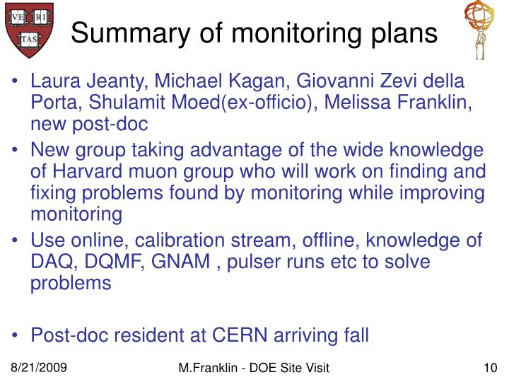 Summary of monitoring plans