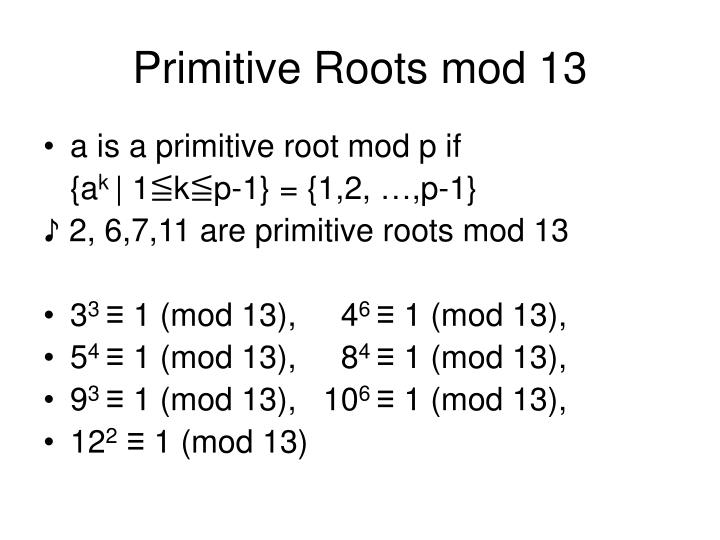 Primitive Roots mod 13