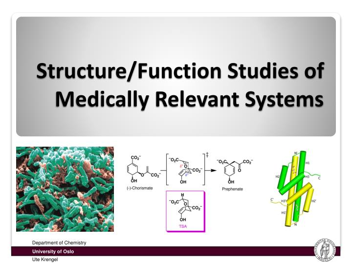 Structure/Function Studies of Medically Relevant Systems